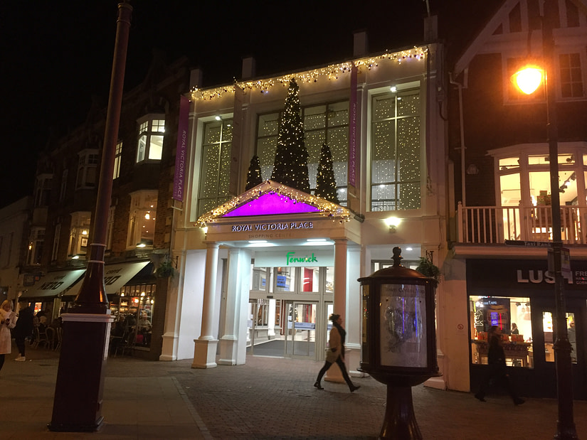 Christmas decorations at the shopping centre in Tunbridge Wells
