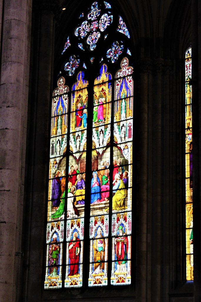 Beautiful window of Cologne Cathedral, travel guide to Germany