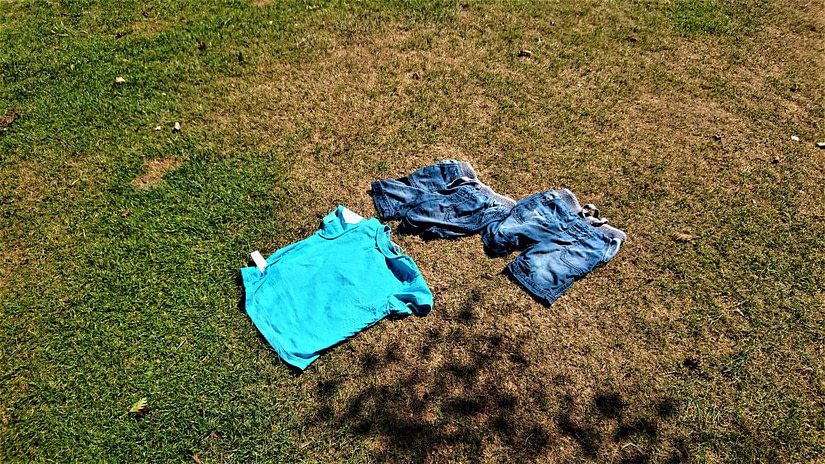 The kids clothes drying off in the sun