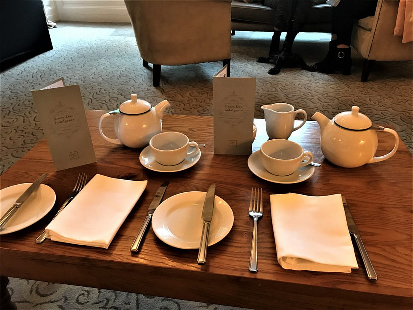 Table layed ready for us to eat our delicious afternoon tea