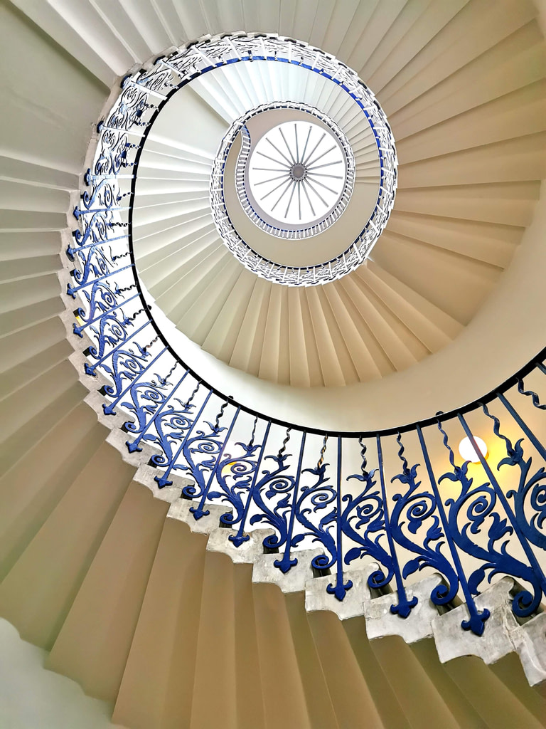 One of the most instagrammable images of the Tulip Staircase in the Queens House, Greenwich
