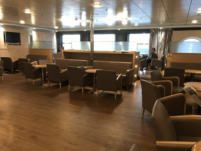 The lounge area inside the Premium Lounge on board the DFDS