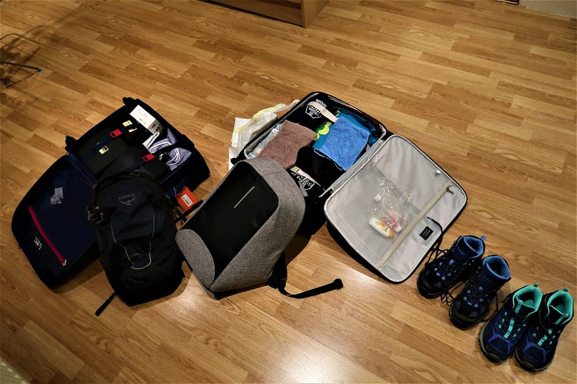 Our hand luggage packed