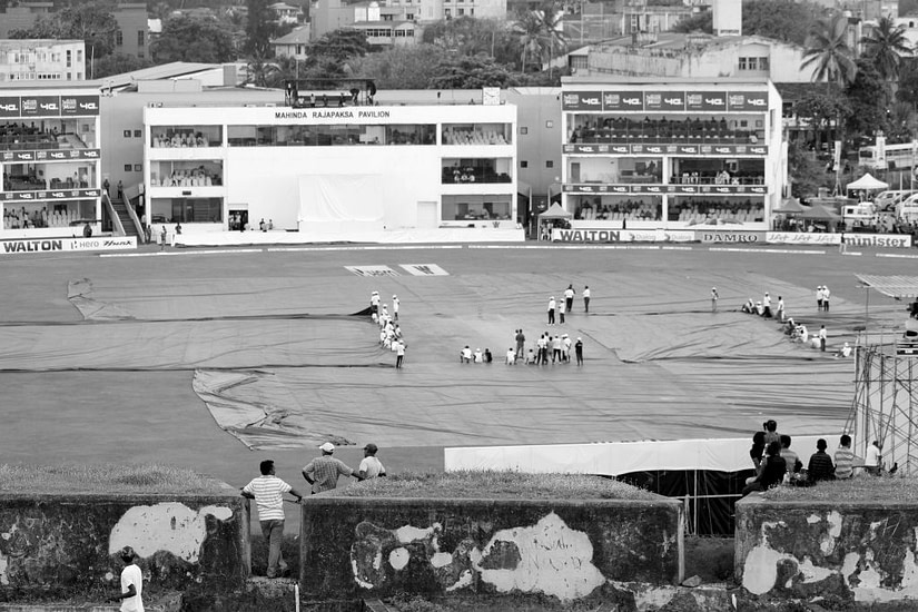 Rain stop play at Galle International Cricket Ground, in Galle