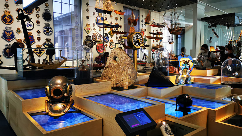 Some of the interactive displays in the National Maritime Museum, Greenwich