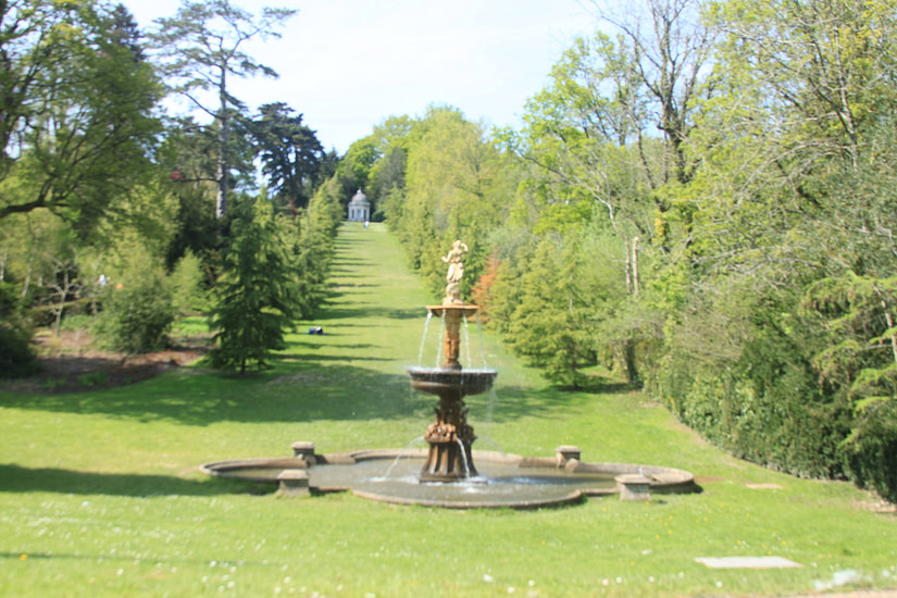 Water fountain with the Temple at the top in Dunorlan's Park Tunbridge Wells